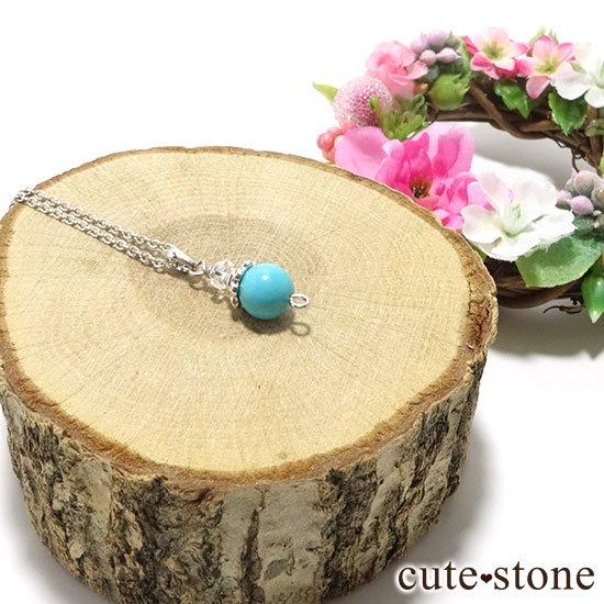 【Birthday Necklace 12月】 ターコイズ(トルコ石)と水晶で作った誕生石ネックレスの写真2 cute stone
