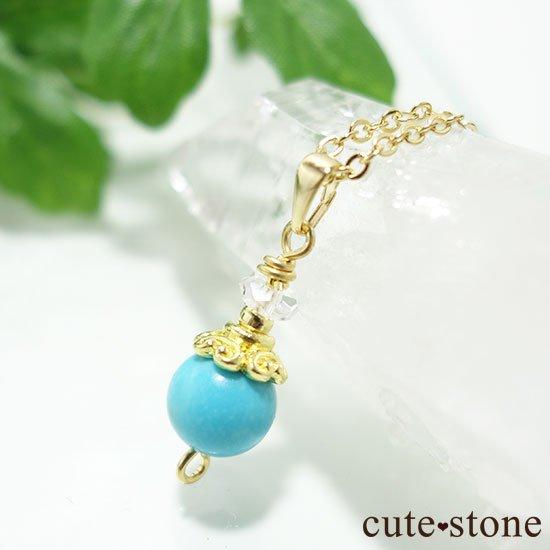 【Birthday Necklace 12月】 ターコイズ(トルコ石)と水晶で作った誕生石ネックレスの写真4 cute stone