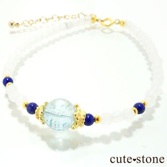 【雪解け水】アクアマリン ラピスラズリ フロストクォーツのブレスレットの写真0 cute stone
