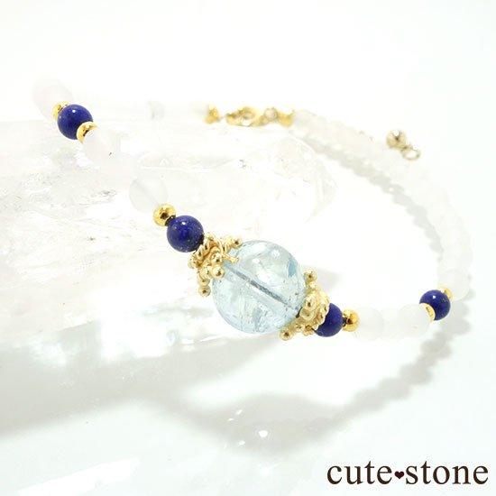 【雪解け水】アクアマリン ラピスラズリ フロストクォーツのブレスレットの写真1 cute stone