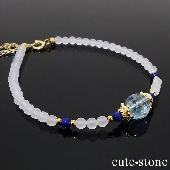 【雪解け水】アクアマリン ラピスラズリ フロストクォーツのブレスレットの写真2 cute stone