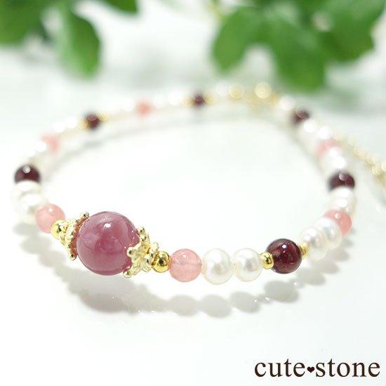 【冬の花】ルビー インカローズ ガーネット 淡水真珠のブレスレット