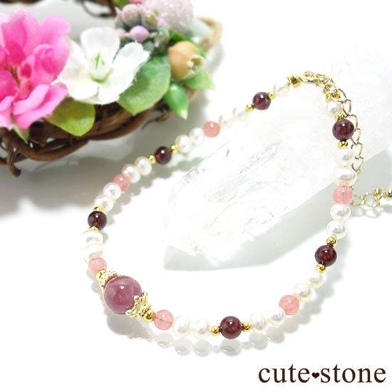 【冬の花】ルビー インカローズ ガーネット 淡水真珠のブレスレットの写真0 cute stone