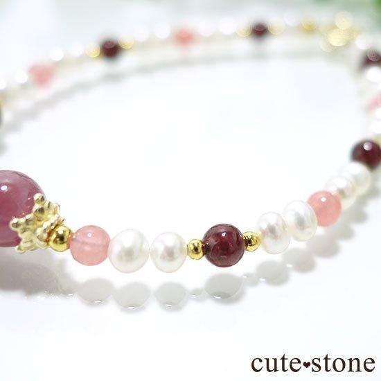 【冬の花】ルビー インカローズ ガーネット 淡水真珠のブレスレットの写真3 cute stone