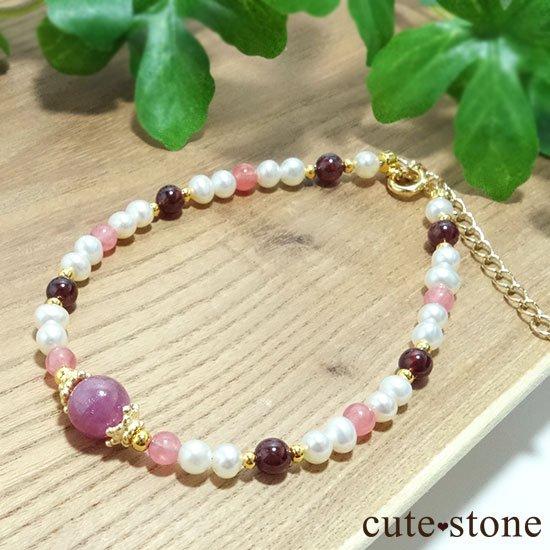 【冬の花】ルビー インカローズ ガーネット 淡水真珠のブレスレットの写真4 cute stone