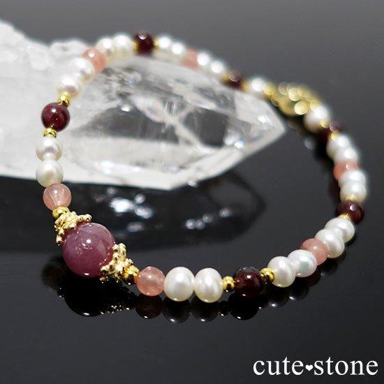 【冬の花】ルビー インカローズ ガーネット 淡水真珠のブレスレットの写真5 cute stone