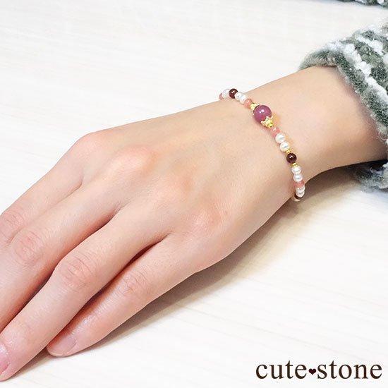 【冬の花】ルビー インカローズ ガーネット 淡水真珠のブレスレットの写真6 cute stone