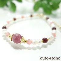 【冬の花】ルビー インカローズ ガーネット 淡水真珠のブレスレットの画像