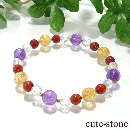 【秘密の花園】 アメジスト シトリン ヘソナイト 水晶のブレスレット
