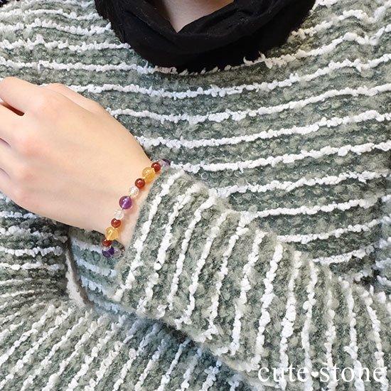 【秘密の花園】 アメジスト シトリン ヘソナイト 水晶のブレスレットの写真6 cute stone