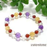 【秘密の花園】 アメジスト シトリン ヘソナイト 水晶のブレスレットの画像