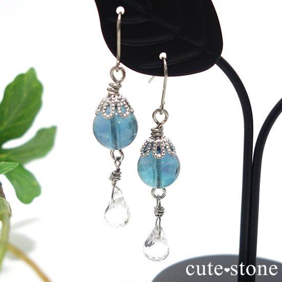【深海の雫】 ブルーフローライト 水晶のピアス イヤリングの写真0 cute stone