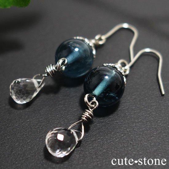 【深海の雫】 ブルーフローライト 水晶のピアス イヤリングの写真1 cute stone