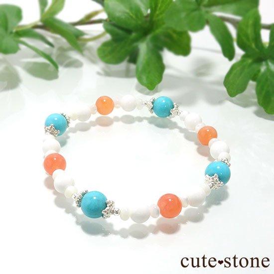 【Sunny sky】ターコイズ アプリコットアゲート ホワイトシェル マザーオブパールのブレスレットの写真0 cute stone