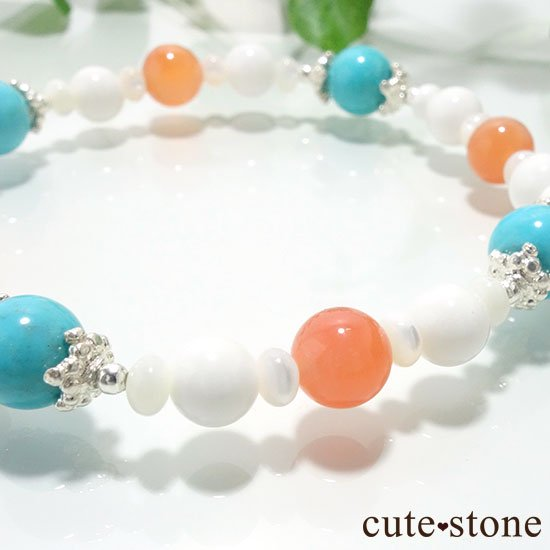 【Sunny sky】ターコイズ アプリコットアゲート ホワイトシェル マザーオブパールのブレスレットの写真2 cute stone