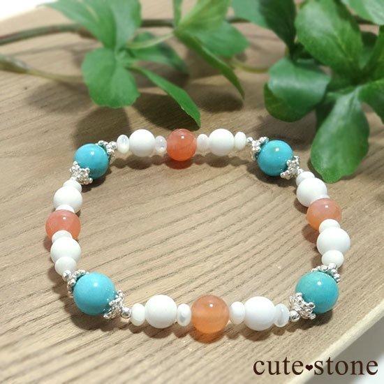 【Sunny sky】ターコイズ アプリコットアゲート ホワイトシェル マザーオブパールのブレスレットの写真4 cute stone