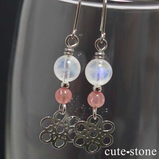 【春風】 インカローズ レインボームーンストーンのピアス イヤリングの写真0 cute stone