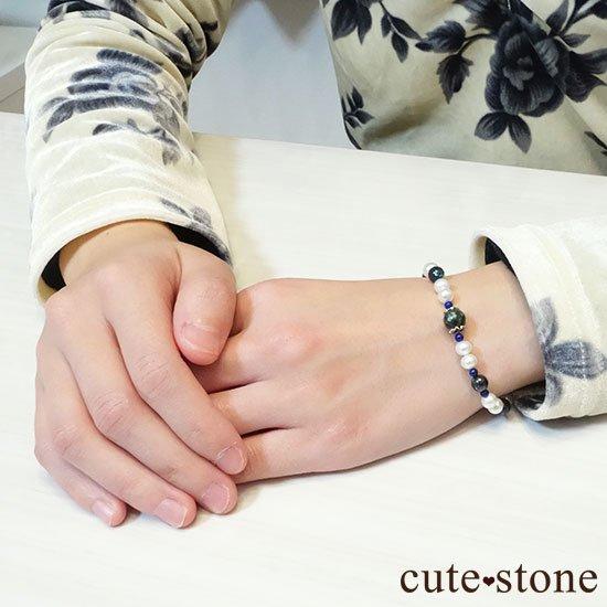 【天使の贈り物 -Seraphim-】クリソコラ セラフィナイト 淡水真珠 ラピスラズリのブレスレットの写真5 cute stone