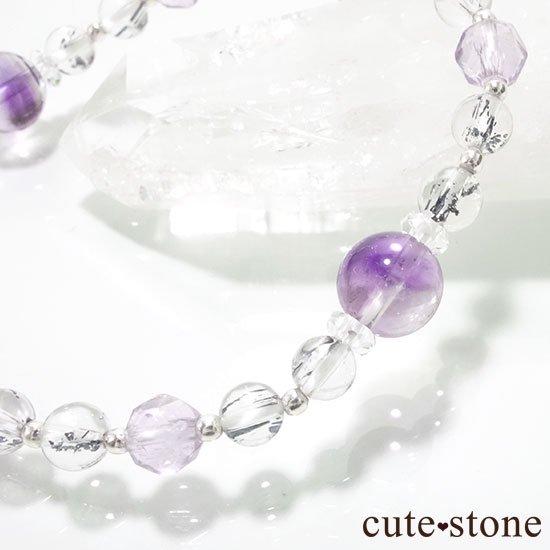【名刀の輝き】スティブナイトインクォーツ バイカラーアメジストのブレスレットの写真0 cute stone