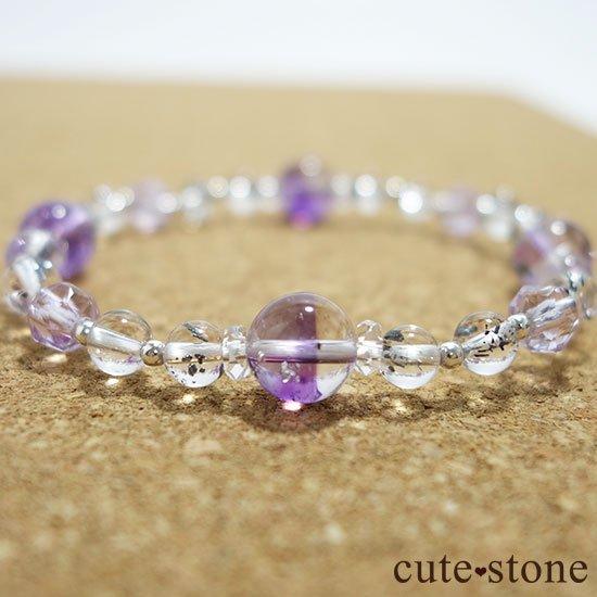 【名刀の輝き】スティブナイトインクォーツ バイカラーアメジストのブレスレットの写真4 cute stone