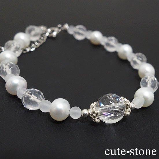 【Pure White】アイリスクォーツ 淡水真珠 ミルキークォーツのブレスレット
