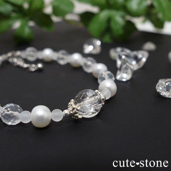 【Pure White】アイリスクォーツ 淡水真珠 ミルキークォーツのブレスレットの写真2 cute stone