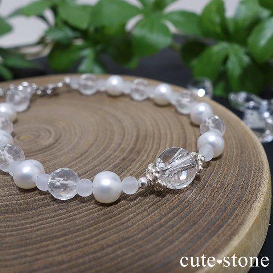 【Pure White】アイリスクォーツ 淡水真珠 ミルキークォーツのブレスレットの写真3 cute stone
