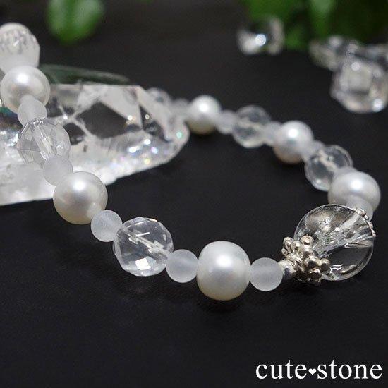 【Pure White】アイリスクォーツ 淡水真珠 ミルキークォーツのブレスレットの写真4 cute stone
