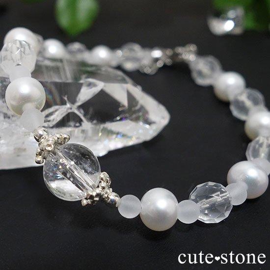 【Pure White】アイリスクォーツ 淡水真珠 ミルキークォーツのブレスレットの写真5 cute stone