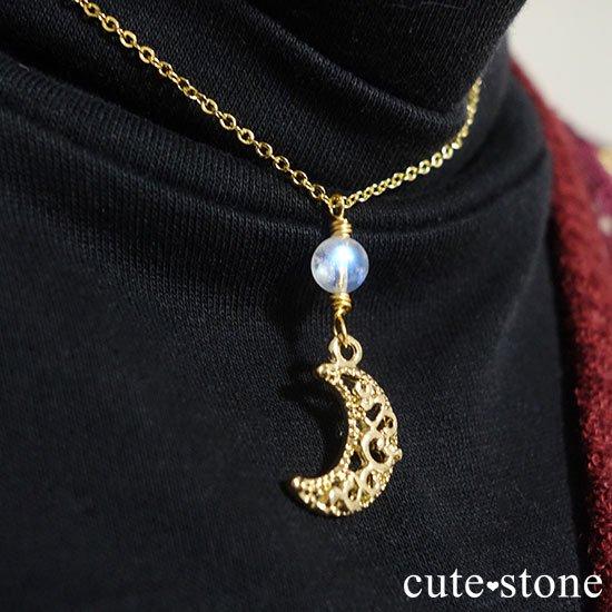 【Luna Magic】 レインボームーンストーンの三日月ネックレスの写真3 cute stone