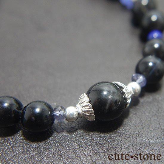 【漆黒の夜空】ブラックスターダイオプサイト ブラックスキャポライト タンザナイト ラピスラズリのブレスレットの写真0 cute stone