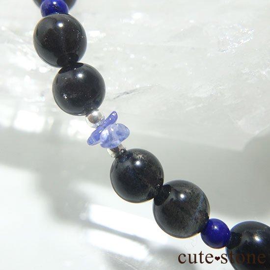 【漆黒の夜空】ブラックスターダイオプサイト ブラックスキャポライト タンザナイト ラピスラズリのブレスレットの写真5 cute stone
