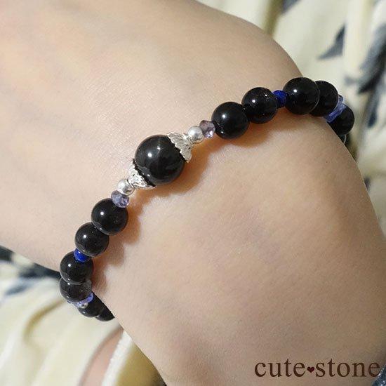 【漆黒の夜空】ブラックスターダイオプサイト ブラックスキャポライト タンザナイト ラピスラズリのブレスレットの写真6 cute stone