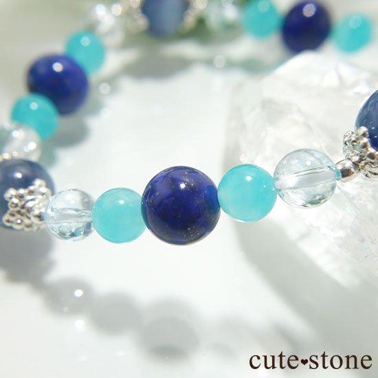 【蒼の奇跡】カイヤナイト ブルートパーズ アイスアマゾナイト ラピスラズリのブレスレットの写真1 cute stone