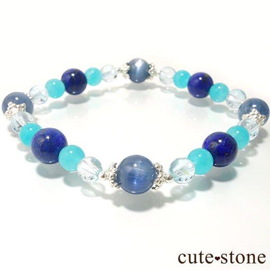 【蒼の奇跡】カイヤナイト ブルートパーズ アイスアマゾナイト ラピスラズリのブレスレットの写真2 cute stone