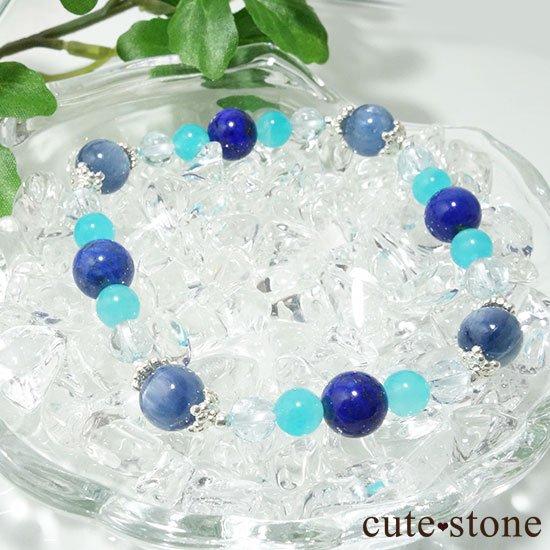 【蒼の奇跡】カイヤナイト ブルートパーズ アイスアマゾナイト ラピスラズリのブレスレットの写真3 cute stone