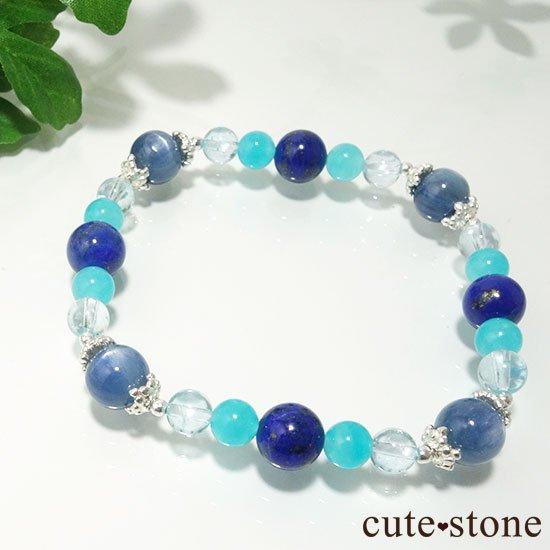 【蒼の奇跡】カイヤナイト ブルートパーズ アイスアマゾナイト ラピスラズリのブレスレットの写真4 cute stone