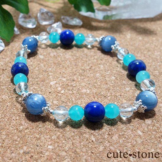 【蒼の奇跡】カイヤナイト ブルートパーズ アイスアマゾナイト ラピスラズリのブレスレットの写真5 cute stone