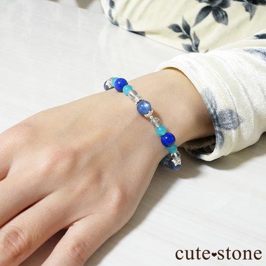 【蒼の奇跡】カイヤナイト ブルートパーズ アイスアマゾナイト ラピスラズリのブレスレットの写真6 cute stone