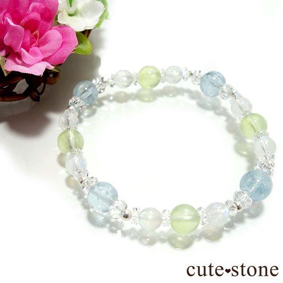 【春風 〜新緑〜】アクアマリン プレナイト レインボームーンストーンのブレスレットの写真1 cute stone