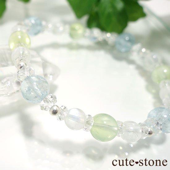 【春風 〜新緑〜】アクアマリン プレナイト レインボームーンストーンのブレスレットの写真4 cute stone