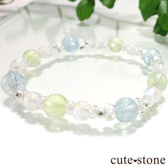 【春風 〜新緑〜】アクアマリン プレナイト レインボームーンストーンのブレスレットの写真5 cute stone