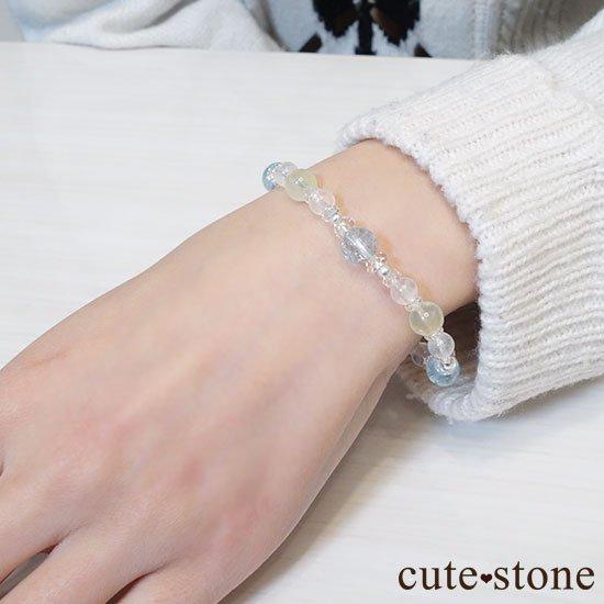 【春風 〜新緑〜】アクアマリン プレナイト レインボームーンストーンのブレスレットの写真7 cute stone