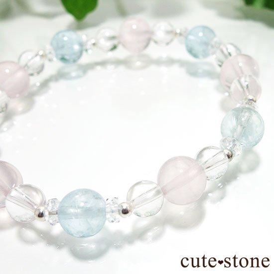 【春風 〜桜〜】アクアマリン スターローズクォーツ 水晶のブレスレットの写真1 cute stone