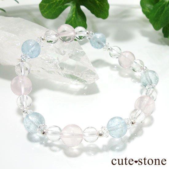 【春風 〜桜〜】アクアマリン スターローズクォーツ 水晶のブレスレットの写真2 cute stone