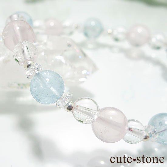 【春風 〜桜〜】アクアマリン スターローズクォーツ 水晶のブレスレットの写真3 cute stone