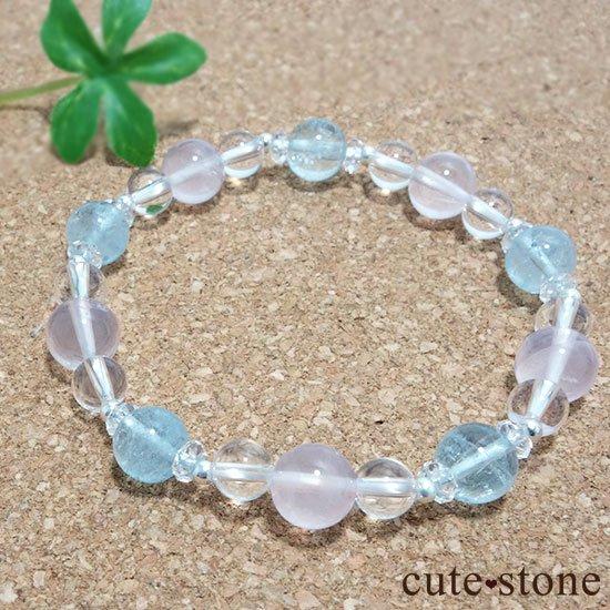【春風 〜桜〜】アクアマリン スターローズクォーツ 水晶のブレスレットの写真4 cute stone