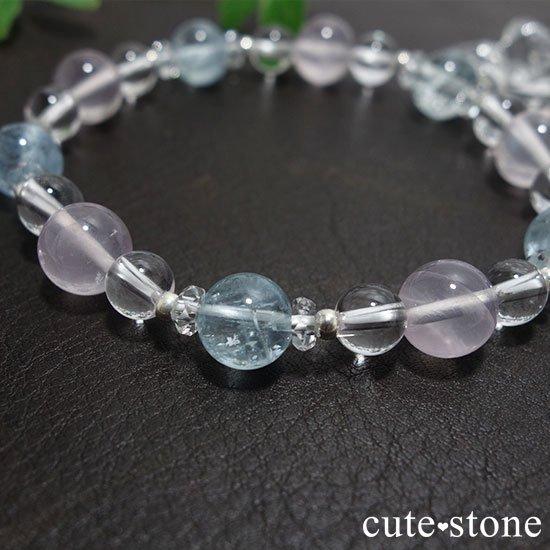 【春風 〜桜〜】アクアマリン スターローズクォーツ 水晶のブレスレットの写真5 cute stone