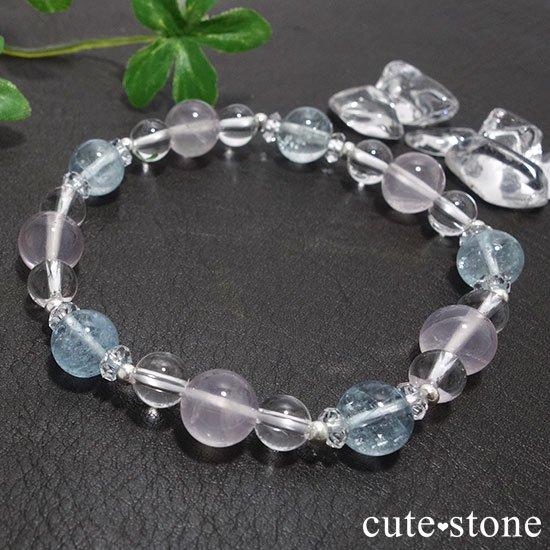 【春風 〜桜〜】アクアマリン スターローズクォーツ 水晶のブレスレットの写真6 cute stone