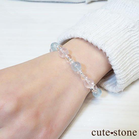 【春風 〜桜〜】アクアマリン スターローズクォーツ 水晶のブレスレットの写真7 cute stone